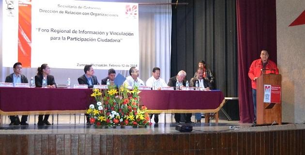 Los foros son organizados por la Secretaría de Gobierno a través de la Dirección de Relación con Organizaciones