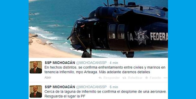 La información se dio a conocer a través de la cuenta de Twitter de la SSP de Michoacán