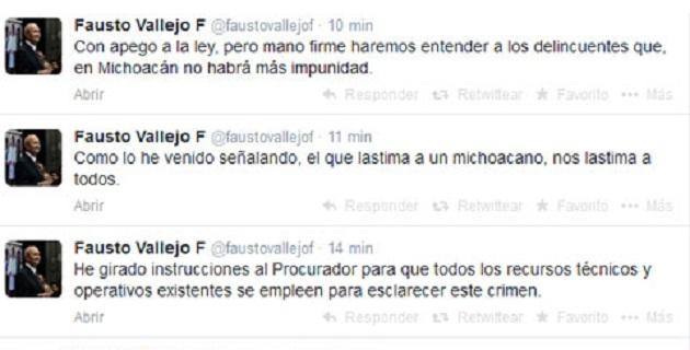 """""""Con consternación y profunda indignación, condenamos enérgicamente el cobarde asesinato de Gustavo Garibay García, edil de Tanhuato"""", señaló Vallejo Figueroa a través de su cuenta de Twitter"""