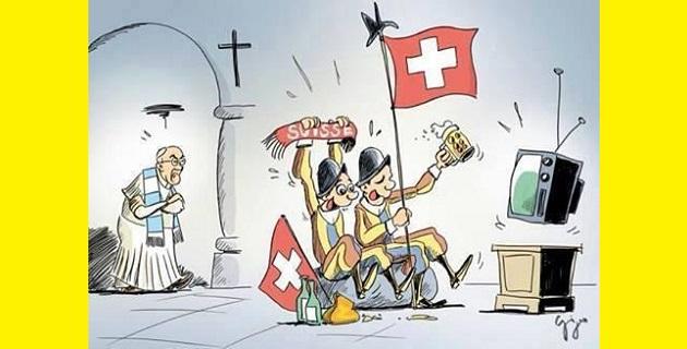 """""""Argentina versus Suiza"""" fue el mensaje lanzado en el perfil @VaticanCommunication junto con una curiosa caricatura que muestra al pontífice con la bufanda celeste y blanca viendo a lo lejos a un par de guardias que miran el partido con banderas de su país"""