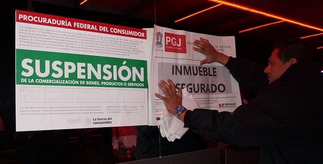 """Los centros nocturnos asegurados fueron """"El Exesso"""" y """"El Centenario""""; en el operativo también participó personal de la PROFECO"""