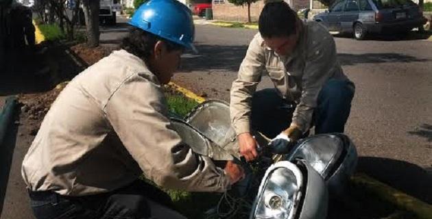 Anteriormente, tanto el personal sindicalizado como el de contrato temporal, dio mantenimiento a 155 luminarias en Lomas de la Maestranza, donde se sustituyeron mil metros de cable y se colocaron tres postes metálicos