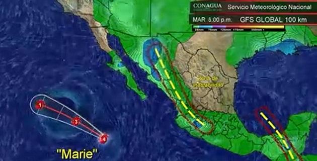 Se esperan fuertes marejadas por la propagación del Huracán con alturas de 2 a 4 metros, alcanzando las costas de Baja California Sur, Sinaloa, Nayarit, Jalisco, Colima, Michoacán y Guerrero