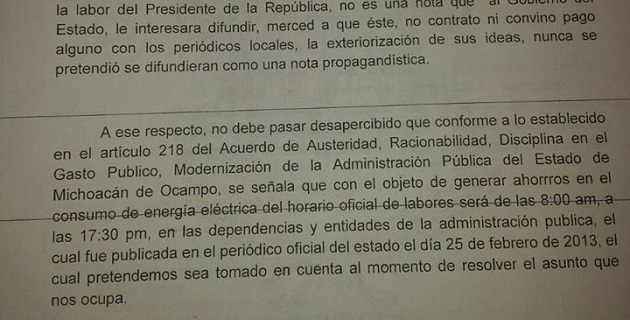 En el escrito de respuesta el Poder Ejecutivo estatal admite que Jara Guerrero asistió a un acto de la CNOP, pero asegura que no fue en horario hábil