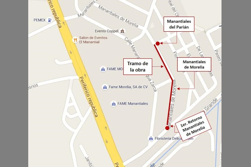 La línea del colector quedará ubicada en el tramo que comprende de la calle Manantial del Parián hasta la calle de la Higuera (o Primer Retorno de Manantiales de Morelia)