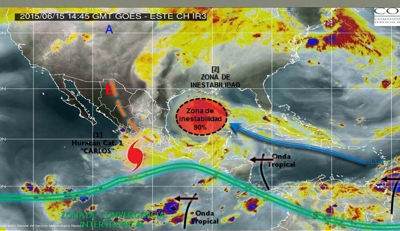 Continúa activa la zona de prevención por efectos de huracán desde Punta San Telmo, Michoacán, hasta Playa Pérula, Jalisco