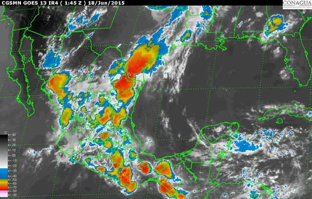 Durante las próximas horas se prevén precipitaciones fuertes en el DF y el Estado de México, así como lluvias intensas en Guerrero, Oaxaca y Veracruz
