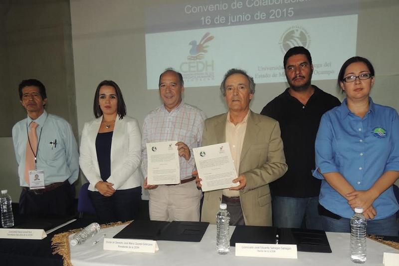 El documento fue signado por el ombudsman michoacano, José María Cázares y el rector de la Universidad, José Eduardo Sahagún