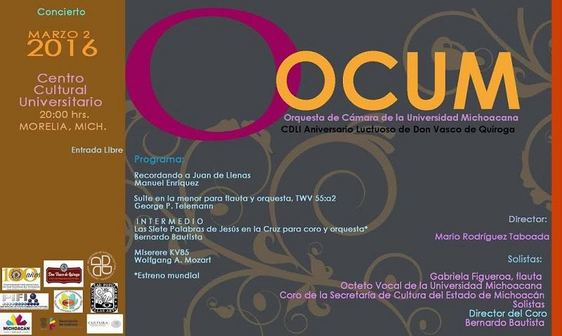 Este concierto contará con la participación como solistas de Gabriela Figueroa en la flauta, el Octeto Vocal de la Universidad Michoacana y el Coro de la Secretaría de Cultura del Estado de Michoacán