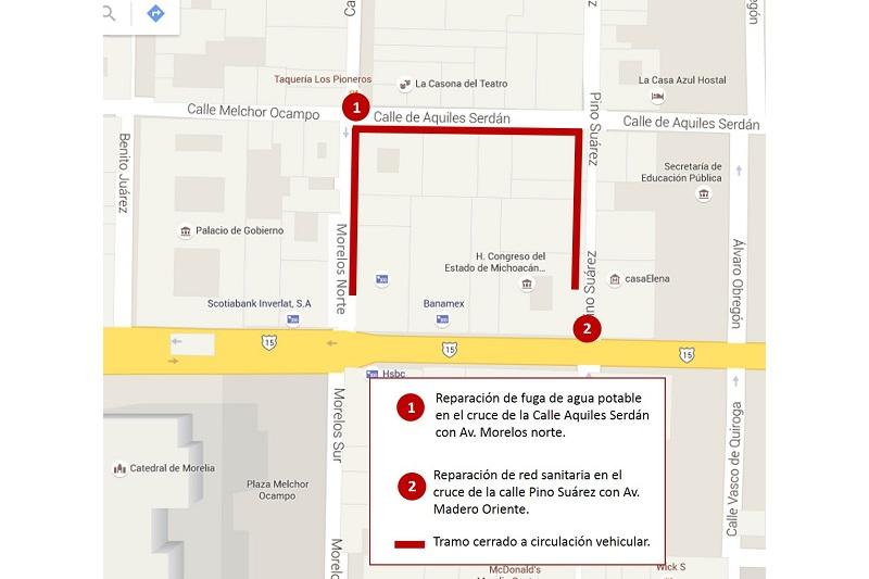 Las dos reparaciones darán inicio mañana viernes a las 07:30 horas, siendo necesario cerrar la circulación en el cuadrante que comprenden las calles señaladas para poder maniobrar con equipo y maquinaria