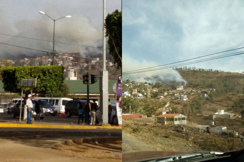 El humo y las llamas han comenzado a alcanzar a algunas casas; sin embargo, hasta el momento no se reportan afectaciones (FOTOS: MARIO SÁMANO)