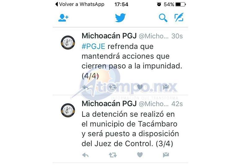 La detención se registró en el municipio de Tacámbaro (FOTO: FRANCISCO ALBERTO SOTOMAYOR)
