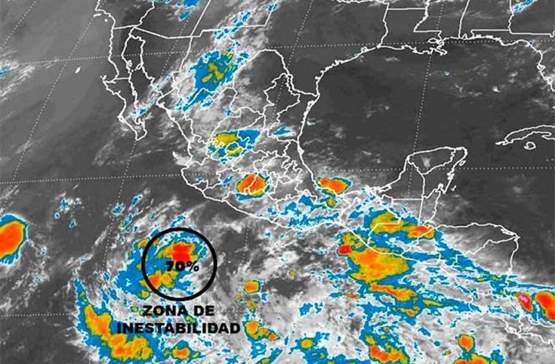 Una zona de inestabilidad localizada al sur de Michoacán tiene 30 por ciento de probabilidad de desarrollo ciclónico en el pronóstico a 48 horas y se localizó a mil 75 kilómetros al sur-suroeste de Lázaro Cárdenas
