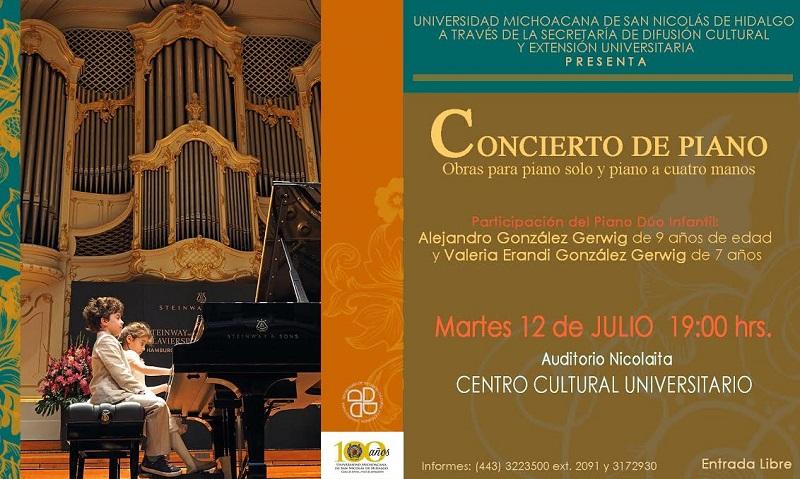 Concierto de piano individual y piano dúo a cuatro manos, en el Centro Cultural Universitario