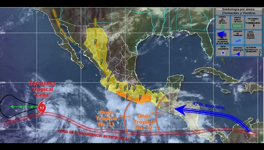 Se monitorea una zona de inestabilidad en el Océano Pacífico, con 20 por ciento de probabilidad de evolucionar a ciclón tropical en el pronóstico a 48 horas