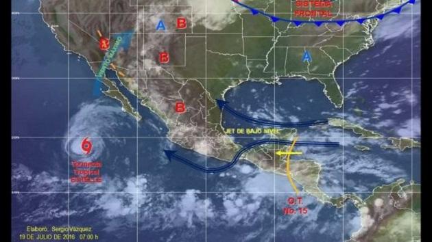 Se espera un cielo medio nublado en el Pacífico Centro, así como un 60% de probabilidad de chubascos con tormentas fuertes en Nayarit, Jalisco, Colima y Michoacán