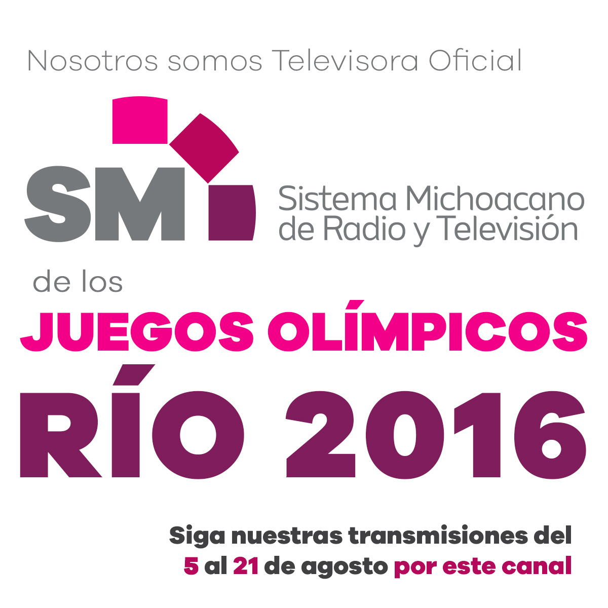La señal televisiva del SMRTV se puede ver a través de antena aérea en los canales 2 (Morelia), 10 (Zamora, Uruapan y la Piedad), 6 (Lázaro Cárdenas), 4 (Apatzingán), 13 (Zitácuaro), 7 (Jiquilpan), 206 de Megacable y 18 ó 131-6 de Telecable