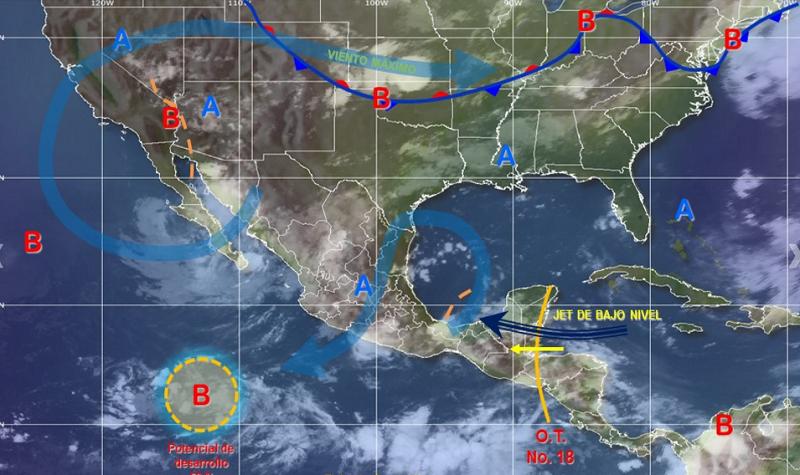 También habrá tormentas puntuales en Sonora, Nayarit, Chihuahua, Zacatecas, Aguascalientes, Durango, Guerrero, Oaxaca y Veracruz