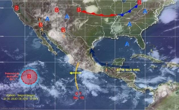 Para este domingo dos canales de baja presión, uno extendido en el interior del país y otro en la Península de Yucatán y sureste de México, propiciarán chubascos fuertes