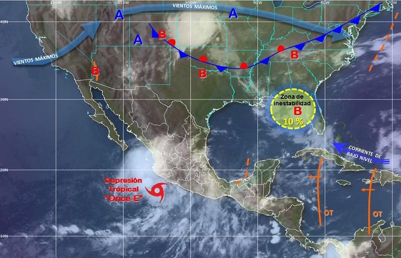 Se prevé que la posible depresión tropical número 11 se localice hoy frente a las costas de Colima y Jalisco, donde provocará potencial de tormentas torrenciales, vientos fuertes y oleaje elevado