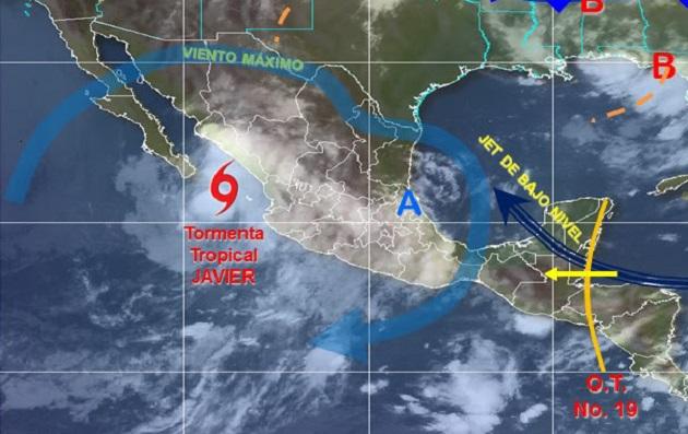 En la entidad para esta tarde se prevén intervalos de chubascos fuertes con precipitaciones de entre 25 a 50 milímetros con tormentas puntuales muy fuertes 50 a 75 milímetros