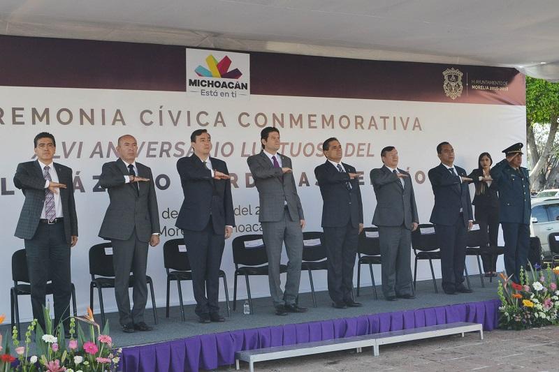 En el acto cívico, estuvieron presentes también autoridades estatales, así como el cuerpo de Regidores del Honorable Ayuntamiento de Morelia, Secretarios y Funcionarios Municipales
