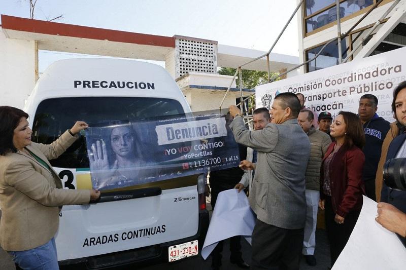 La titular de la CGCS, Julieta López Bautista, agradeció que los transportistas permitan llevar la campaña a toda la población, ya que esta acción se enmarca en la declaratoria de Alerta de Violencia de Género contra las Mujeres