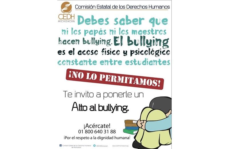 El Bullying es una palabra en inglés que se traduce como acoso escolar o intimidación del que son víctimas las niñas, niños y adolescentes en la escuela