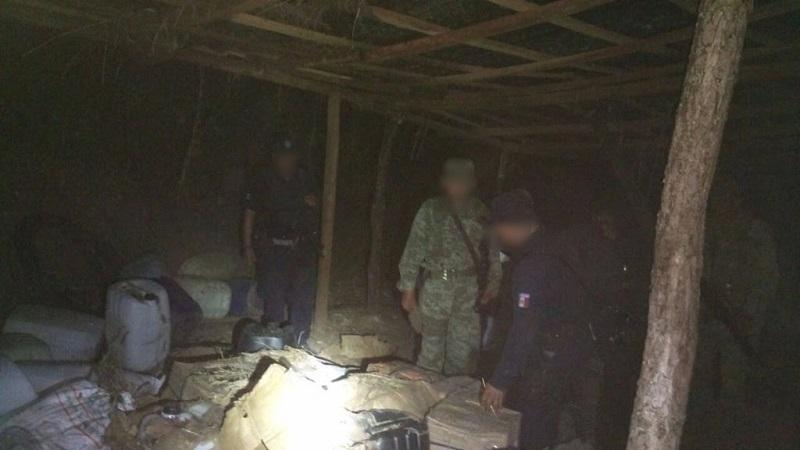 El material y droga asegurados fueron puestos a disposición de la autoridad competente