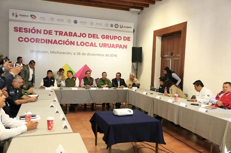 Revisan avances en seguridad y procuración de justicia en Uruapan