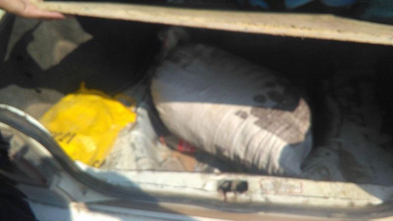 Al inspeccionar la parte trasera del vehículo localizaron dos costales con vegetal verde con las características de la marihuana, que en conjunto dieron un peso aproximado de 12 kilogramos