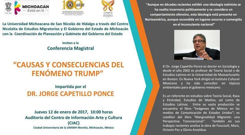 Presenta el sociólogo Jorge Capetillo Ponce; jueves 12 de enero, Centro de Información, Arte y Cultura