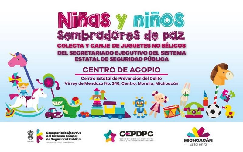 La dependencia estatal invita a donar juguetes didácticos y deportivos (sin pilas) para intercambiarlos por los juguetes bélicos que pudieran tener las y los niños de la entidad