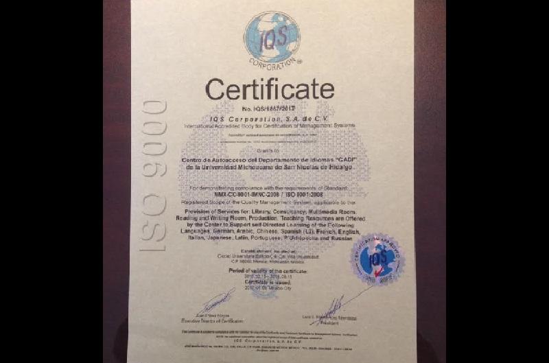 La validez de esta certificación, otorgada por la IQS tiene una vigencia hasta el 15 de septiembre del 2018
