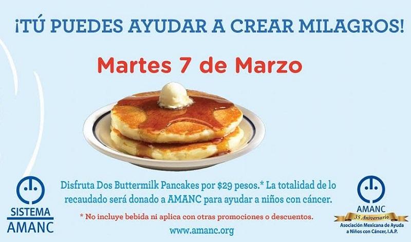 7 de marzo día clave para apoyar a través del consumo de Pancakes en apoyo para una mejor calidad de vida de niños con cáncer