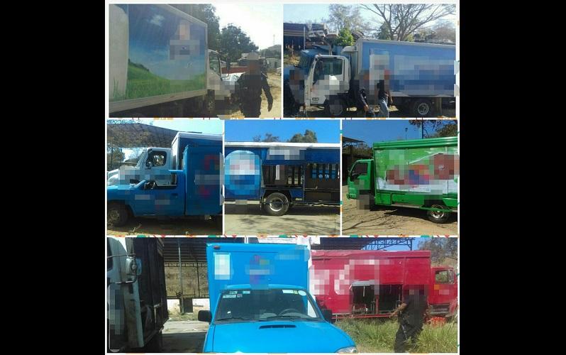 Los automóviles liberados fueron tres de las marca Isuzu, un Nissan y dos más Freightliner