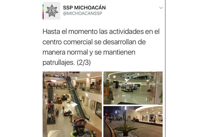 Más de 30 unidades policíacas se hicieron presentes en los alrededores del centro comercial