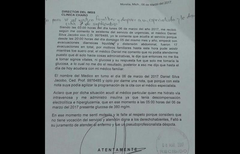 El 8 de marzo el quejoso envió una queja al director del nosocomio y no ha recibido respuesta (FOTO: ABUNDIO MOLINERO)