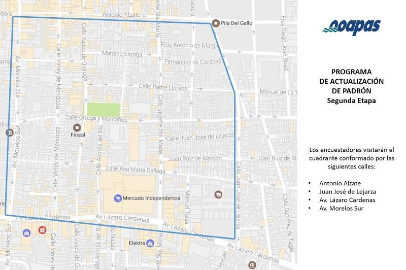 La zona que recorrerán los encuestadores comprende las calles que se encuentran dentro del cuadrante delimitado por las calles Antonio Alzate, Juan José de Lejarza, Av. Lázaro Cárdenas y Av. Morelos Sur