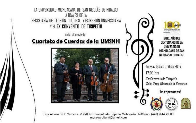 En los últimos años el Cuarteto de Cuerdas de la Universidad Michoacana se ha presentado en actos cívico culturales tanto en Morelia como en ciudades donde hay extensiones de esta casa de estudios; así como en conciertos para municipios del estado