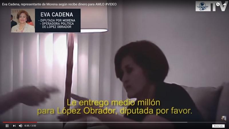 En el video, publicado por EL UNIVERSAL, se aprecia la voz de una mujer no identificada que entrega el dinero a Eva Cadena, resaltando su apoyo al proyecto de López Obrador