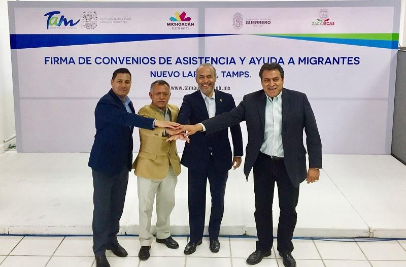 Con este convenio, que se basa en los principios y derechos fundamentales para la población migrante consagrados en instrumentos internacionales de la ONU, se brindará atención integral a las y los michoacanos deportados que se internen a México por el estado de Tamaulipas