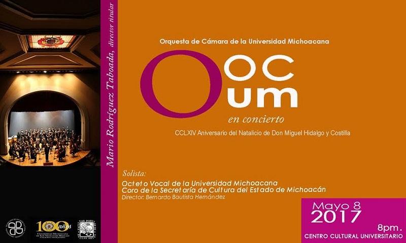 Concierto conjunto con el Octeto Vocal de la UMSNH y el Coro de la Secretaría de Cultura del Estado de Michoacán