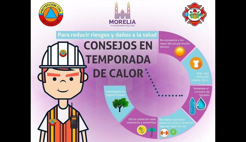 Protección Civil Municipal invita a adoptar medidas preventivas ante altas temperaturas en Morelia