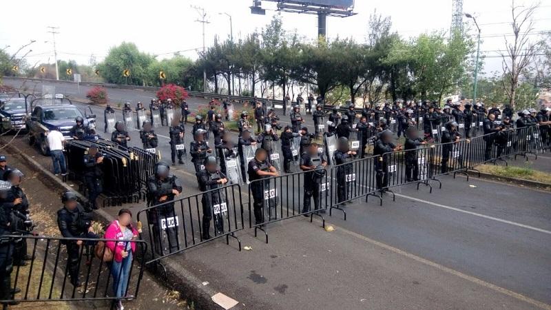 Al momento, la manifestación no presenta ningún incidente