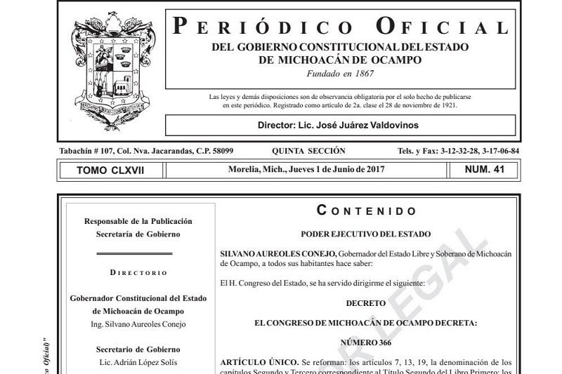 Las modificaciones a la ley electoral fueron aprobadas los pasados 11 y 29 de mayo por el Congreso del Estado de Michoacán
