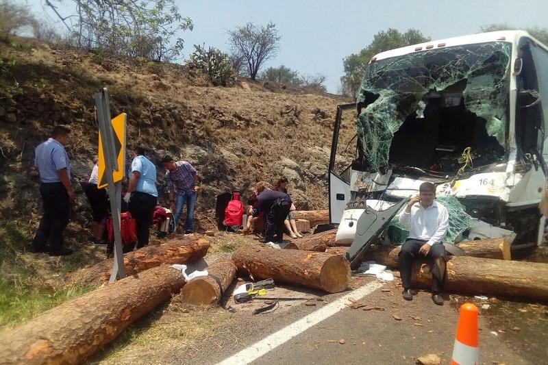 El percance ocasionó que las cadenas que sujetaban los troncos se reventaran, quedando la madera esparcida en la carretera