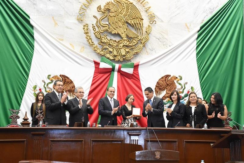 Adriana Hernández, coordinadora del PRI en el Congreso del Estado, llamó a imitar los valores de Ocampo para tener justicia social