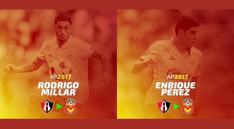 La Liga MX confirmó que ambos elementos seguirán su carrera en Morelia, como préstamo del Atlas, a quienes pertenecen sus cartas
