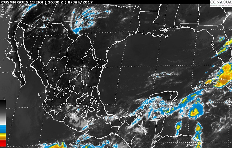 En regiones de Puebla, Oaxaca y Chiapas se prevén tormentas muy fuertes, pro continuará el ambiente de caluroso a muy caluroso en la mayor parte del país
